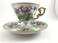 VINTAGE VICTORIAN STERLING CHINA TEACUP AND SAUCER SEPTEMBER ASTER PURPLE FOOTED