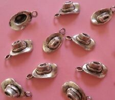 LOT de 12 PENDENTIFS perles breloques CHAPEAUX STETSON COWBOYS création bijoux