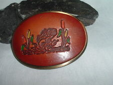 Vintage Tooled Leather Jumping Fish Belt Buckle in gift Box