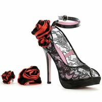 Lace Shoes UK 4.5 Heels Roses Black Wedding Corsage New in Box UK Seller Pump