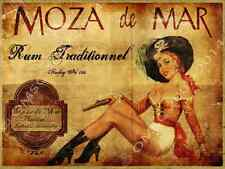 Moza De Mar Rum Metal Sign, Pinup Girl, Pretty Pirate, Vintage Ad, Bar Decor