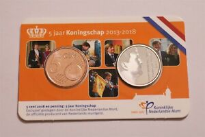 NETHERLANDS 5 YEAR OF THE REIGN 2018 COIN CARD B34 #33
