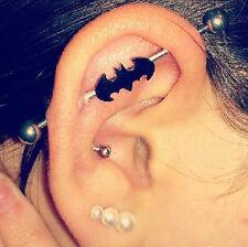 Punk Bat Batman Black-Plated Industrial Barbell Body Piercing Jewelry 1PC