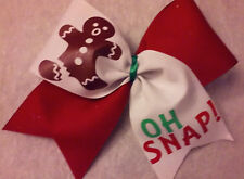 Christmas Gingerbread OH SNAP TicTok Cheer Size Hair Bow red white Holiday