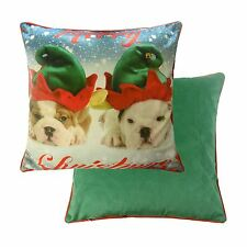 """CUTE BULLDOG PUPPY DOGS CHRISTMAS SOFT VELVET RED GREEN PIPED CUSHION COVER 17"""""""
