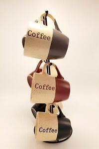 Elama Coffee House 6-Piece 12 oz. Mug Set  with Stand, Assorted Colors 2 Toned