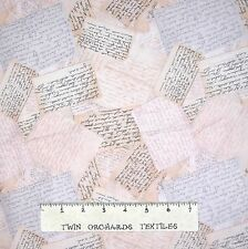 Home Sweet Home Fabric - Handwiitten Letter Toss Beige - RJR YARD
