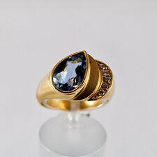 Aquamarin Ring Gelbgold 750/- massiv Idar Oberstein Handarbeit 12x8 mm