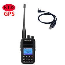 Retevis RT3s GPS UHF/VHF DMR Analog Digital amateur 3000CH Radio+Program Cable