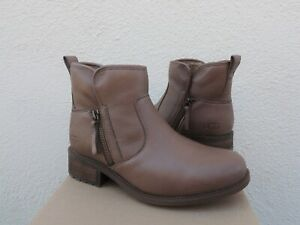UGG CAMEL BROWN LAVELLE LEATHER/ WOOL CHELSEA ANKLE BOOTS, US 7/ EUR 38 ~NIB