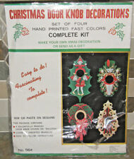 Vintage MCM Sequin Fabric Christmas Door Knob Decoration Kit Set of 4 NEW in Pkg