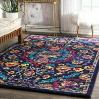 nuLOOM NEW Floral Area Rug in Multi, Purple, Blue, Yellow