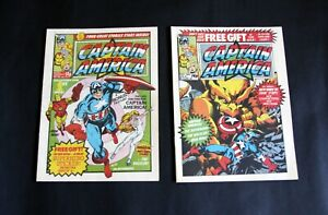 Captain America Nos. 1 & 2. FEB 25th & MAR No.2, 1981. Weekly  With free gifts.