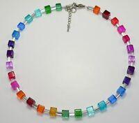 Halskette Kette Perlen Würfel Glas mehrfarbig gelb grün blau rot bunt 266b