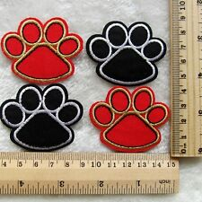 Kids Gift 4pcs Paw Print Embroidered Iron/Sew On Patch Motif Appliqué