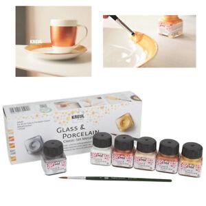 KREUL 6er Porzellan Glas Farbe Set Metallic glänzend für Tasse Teller Schule neu