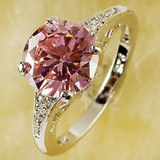 SIZE 12 New Lady Pink Quartz White Topaz lab Sterling Silver Fill Ring R14 R15