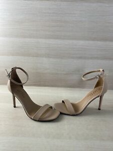 Wild Pair DARRIA2 Beige Leather Ankle Strap Open Toe High Heels Women's Size 9 M
