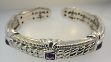 Hinged Bangle Cuff w/3-Amethyst Accents* Signed Judith Ripka 925 Cz Cable