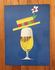 Herbert Leupin Beer Poster Straw Boater Hat Vintage Steel Sign Bar Home Decor