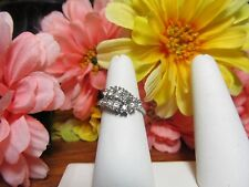 White Gold Plated Womens CZ Multi-Stone Fashion Cocktail Ring Sz 7 Made In USA
