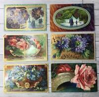 Vintage Lot Of 6 Happy Birthday Postcards Post Card