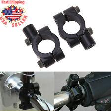 "Pair Black Motorcycle 10mm Mirrors Mount Bracket Clamp 22mm 7/8"" Handlebar New"