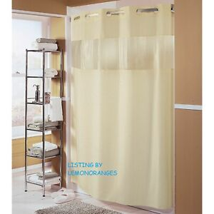 "NEW HOOKLESS ""THE MAJOR"" FABRIC SHOWER CURTAIN IN BEIGE, PEEK-A-BOO WINDOW!"