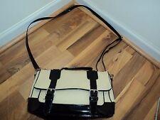 SHOEMINT Canvas & Patent Leather Schoolboy Satchel Messenger/ Media Bag