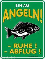 Blechschild 17 x 22, bin am Angeln, Werbeschild Art. 3356