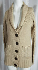 Billabong Womans Button Up Beige Cable Knit Cardigan Size Medium