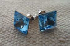 HYPOALLERGENIC Stud Earrings Swarovski Elements Crystal in Square Shape AQUA