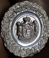 Antique Furstentum Liechtenstein Heavy Bronze Coat of Arms Plaque/Wall Plate