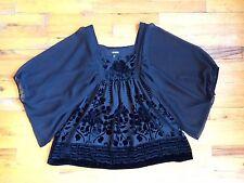 H&M CONSCIOUS Black Velvet Burnout Blouse Baby Doll Top Sz 6 PERFECT