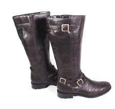 #13S Damen Stiefel Boots Leder braun Gr. 42 Biker-Look Schnallen flach