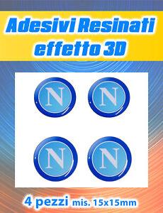 4 Adesivi Napoli Calcio Resinati effetto 3D