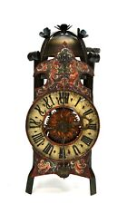 Rare Antique South Germany Gothic Cast Iron Lantern Bracket Wall Clock - c.1750