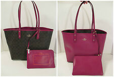 COACH Purple Brown Reversible City Tote Shoulder Bag Purse & Wallet F36658~$350