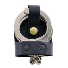 """Perfect Fit Leather Bikini Handcuff Case Brass Snap 2 3/8"""" Belt Clip Black Cuff"""