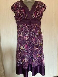 VINTAGE GEORGE PURPLE FLORAL COTTON DRESS WITH POLYESTER TRIM & BEADED DETAIL