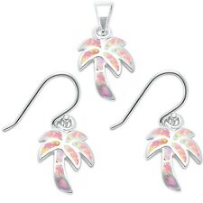 Lab Created Pink Opal Palm Tree .925 Sterling Silver Earrings & Pendant Set