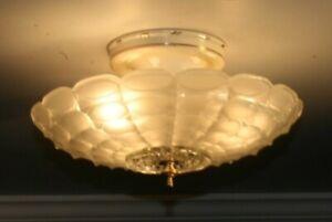 Antique frosted 12 inch glass flush mount Art Deco light fixture chandelier