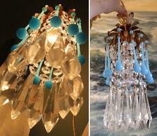 1of 7  Brass Vintage SWAG mini lamp chandelier Blue Opaline Macaroni Crystal