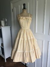 Vintage 1950s 50s White And Yellow Fit Flare Skirt Sun Dress 10