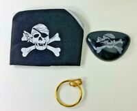 3 PC Pirate Playset Costume Accessories Hat Earring Eyepatch Boys Girls Age 4-7