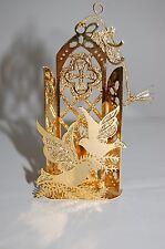 "1990 Danbury Mint Gold Christmas Ornament 4"" Chapel & Doves"