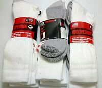 Wolverine Cotton Comfort Steel Toe Boot Sock, White, Large, 6 pair $24.99