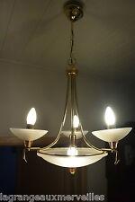 Magnifique lustre Art nouveau avec 3 bras de lumière