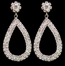 CLIP ON rhinestone CRYSTAL TEARDROP HOOPS hoop EARRINGS gold plated SCREW CLIPS