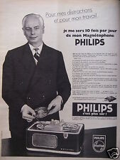 PUBLICITÉ 1958 MAGNÉTOPHONE PHILIPS C'EST PLUS SÛR - ADVERTISING